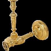 Antique french Louis XVI pair of candlesticks, golden bronze, 18th century