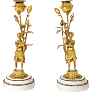 Antique french Louis XVI pair of candlesticks, golden bronze and marble, women with   flowers,