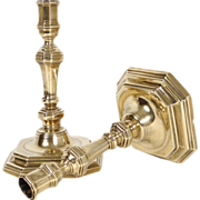 "Antique french pair of candlesticks, golden bronze, ""C Couronne"" poincon, era Louis"