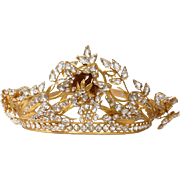 SOLD Antique french gilded brass Crown or Tiara, paste stones, 19th century