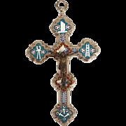 Antique Grand Tour micro mosaic and bronze cross - crucifix, 19th century