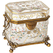 Antique Bohemian Moser enameled glass casket, flowers and edelweiss, 19th century
