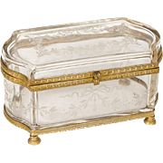 Antique french crystal and bronze casket, era Napoleon III 19th century