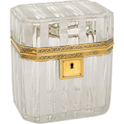 Antique French Charles X era cut crystal casket, with gilded silver mounting, 19th