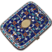Antique silver and enamel change purse, signed Sazikov Moscow, 19th