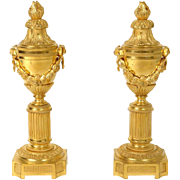 Antique Louis XVI french pair of cassolettes / candlesticks, in gilded bronze, era   Napoleon