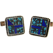 Mid Century Turquoise Silver Cufflinks Cuff Links Unique Sterling Cufflinks Handmade Men's ...