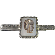 Art Deco Tie Clasp Cameo Tie Bar Hand Made 1940s Silver Tie Clip 800 European ...
