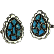 Turquoise Men's Silver Cufflinks Mid Century Sterling Cuff Links Native American Indian Signed