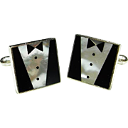 Tuxedo Fine Hand made Inlaid Sterling Silver 925 Onyx MOP Mother of Pearl Cuff Links ...