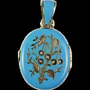 Victorian Enamel Silver Locket Bohemian Blue Enamel Seed Pearl Sterling Locket Pendant Hand ..