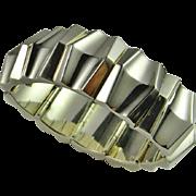 Modernist Sterling Silver Bangle Bracelet Cuff Wide Big 925 Minimalist Chunky Statement 1950s