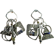 Charm Earrings Silver Handmade Dangle Drop Pretty Vintage Modernist 1950s 1960s 1970s Modernis