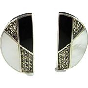 Onyx Sterling Silver Earrings Marcasite 925 Sterling Earrings Mother of Pearl Black and White