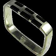 Minimalist Onyx Sterling Silver Bangle Cuff Bracelet Modernist Inlay Inlaid 925 Retro Vintage