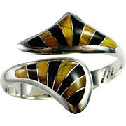 Inlay Inlaid Sterling Silver Clamper Bangle Bracelet Cuff 925 1980s Wide Chunky Statement ...