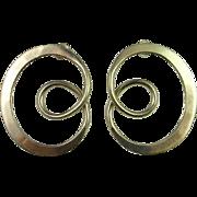Spiral Silver Earrings Sterling Silver Minimalist Retro Modernist Vintage Estate Fine 925 ...