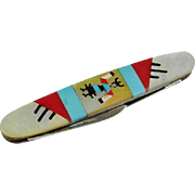 American Indian Turquoise Inlay Sterling Silver Paper Knife Pocket Knife Retro 1960s Onyx MOP