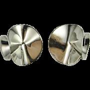 Modernist Sterling Silver Earrings 1980s Chunky Statement Earrings 925 Studs Designer Signed .