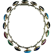 Turquoise Sugilite Malachite Onyx Sterling Silver Collar Necklace Chunky Statement 925 Wide Bi