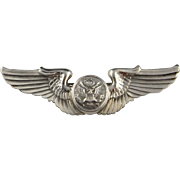 Pilots Wings Sterling Silver Pin Brooch Art Deco 925 Air Force Brooch United States Army ...