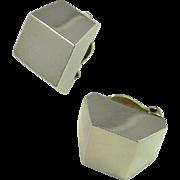 Minimalist Silver Earrings Sterling Silver Modernist Clip On earrings Ear Clips 1950s 1960s ..