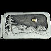 Mid Century 14K Gold Sterling Silver Money Clip 925 Moonlit Landscape Artist Designer Sterling