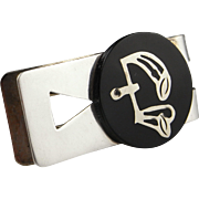 Ebony Sterling Silver Money Clip 925 Inlay Inlaid Ebony Mens Vintage Jewelry Mens Accessories
