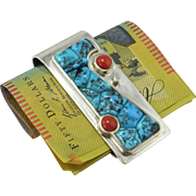 Sterling Silver Money Clip 925 Precious Red Coral Natural Turquoise Cabochon Money Clip Coral