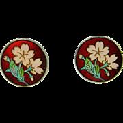 Enamel Silver Earrings Flower Floral Daisy Pretty Dainty Jewelry 1950s Cloisonne Enamel Cherry