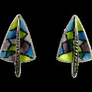 Enamel 835 Silver Earrings Clip On Ear Clips Vintage Marcasite Jewelry Divine 1950s Mid Centur