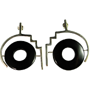 Onyx Silver Earrings Sterling Earrings Chunky Statement Drop Dangle Handcarved Cabochon 1980s