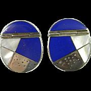 Modernist Earrings Inlay Earrings Lapis Earrings Sterling Silver Earrings Big Earrings ...