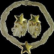 18K Gold Sterling Silver Set Fringe Tassel Draping Tassle Star Necklace and Earrings Set 1980s