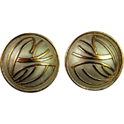 Glamorous Dome Button Hand Crafted Custom Made Sterling Silver Earrings Vintage Circa 1980 ...