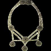 Antique Garnet Necklace Silver Bib Necklace Festoon Necklace Etruscan Revival Jewelry Art ...