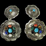 Large Clip On Earrings Cabochon Gemstone Earrings Boho Jewelry Turquoise Earrings Southwestern