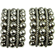 Art Deco Silver Earrings Sterling Silver Chunky Statement Clip On Runway 1930s 1940s Classic .