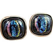 Iridescent Glass Iridescent Earrings 1980s Jewelry Modernist Earrings Sterling Silver Button .