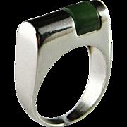 Green Jade Ring Stackable Silver Rings Nephrite Jade Ring Silver Jade Cabochon Natural Jade ..