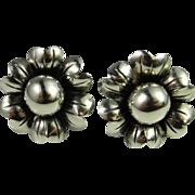 Art Deco Silver Earrings Sterling Flower Earrings Floral Bouquet Daisy Rose 1920s 1930s 1940s