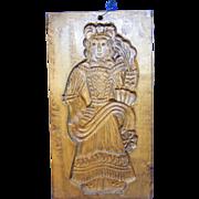 Antique German Wood Carved Christmas Angel Motive Springerle Cookie Mold