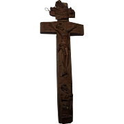 Antique German Carved Wood Relic Cross 18 Century Without Relic