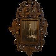 Antique German Black Forest Carved Wood Picture Frame
