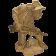 Vintage German Black Forest Carved Wood Hunting Man Poacher Sign. HS