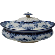 "Antique Victorian English Porcelain Flow Blue Tureen ""Garland"" Leighton Pottery, L 2"