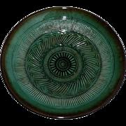 Vintage Mid-20th Century Israeli Studio Pottery Bowl, Kefar Menachem, Hand-Decorated, D 40 cm