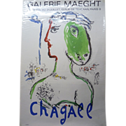 SOLD Lithograph Poster for Marc Chagall Exhibition at Galerie Maeght 1972, 77 x 51 cm
