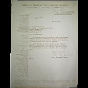 1961 Judaica Letter, Rabbi Menachem M. Kasher NY, re Appointment of Rabbi E.J. Duschinsky ...
