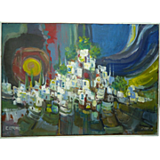 Catriel Efroni Listed Israeli Painting Oil/C, View of Tzfat (Safed), 50 x 70 cm